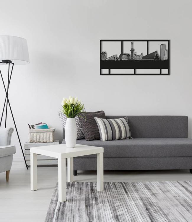 Skyline Rotterdam rechthoek zwart hout - 70 x 35 cm