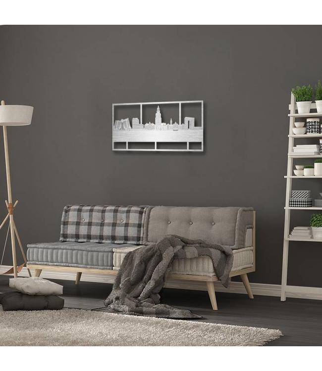 Skyline Groningen rechthoek aluminium - 70 x 35 cm