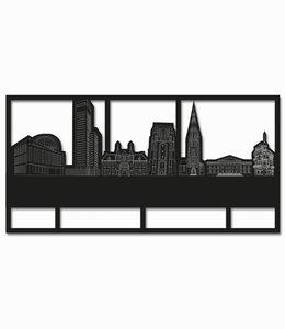 Skyline Leeuwarden rechthoek zwart hout