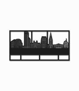 Skyline Leeuwarden klein zwart hout