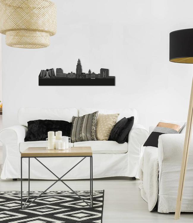 Skyline Groningen vrijstaand black wood 70x25 cm