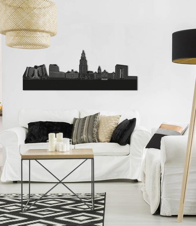 Skyline Groningen vrijstaand black wood 120x43 cm