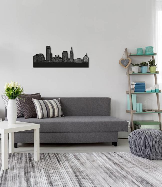 Skyline Leeuwarden vrijstaandblack wood 70x28 cm