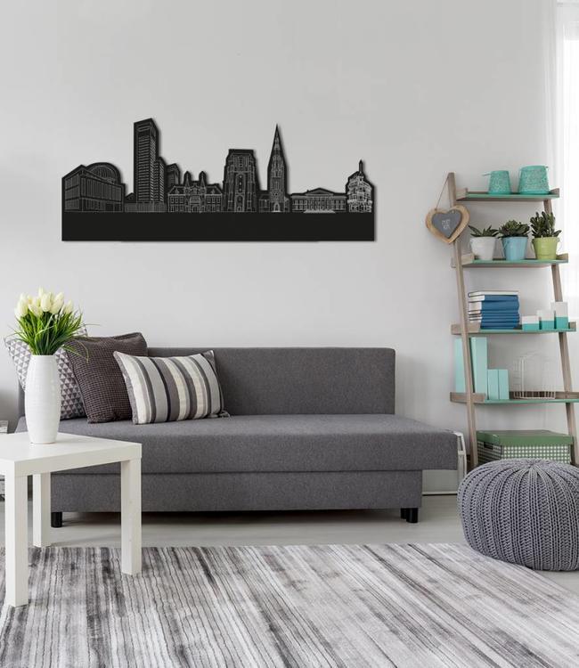 Skyline Leeuwarden vrijstaand black wood 120x48 cm