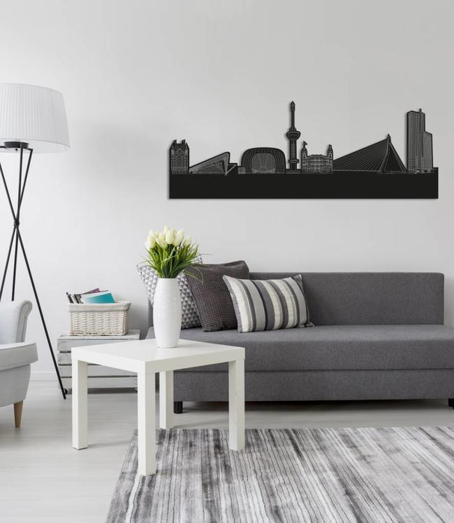 Skyline Rotterdam vrijstaand black wood 70x26 cm
