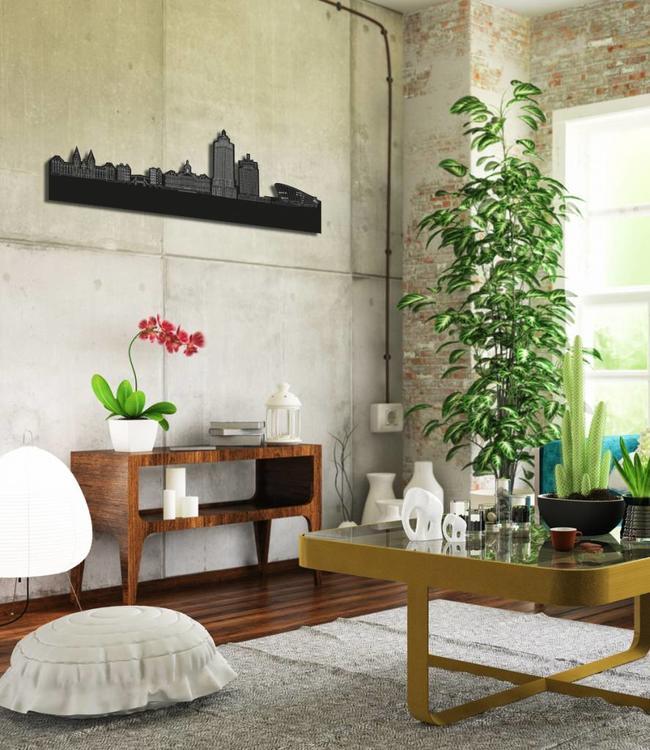 Skyline Amsterdam vrijstaand black wood 120x41cm