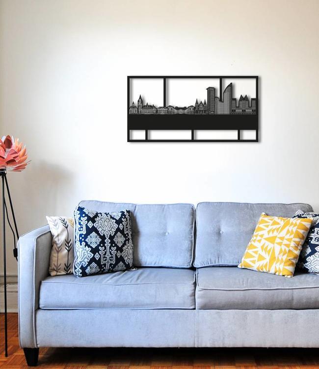 Den Haag Rechthoek zwart hout - 70 x 35 cm