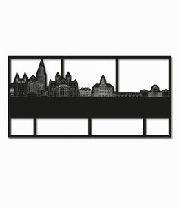 Skyline Maastricht zwart hout kader groot