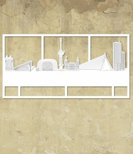 Skyline Rotterdam wit groot kader