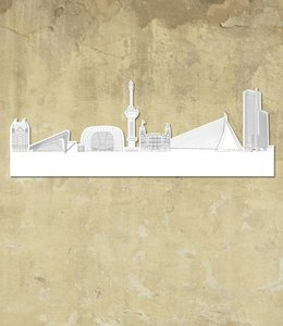 Skyline Rotterdam wit groot vrijstaand