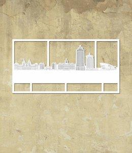 Skyline Amsterdam wit klein kader