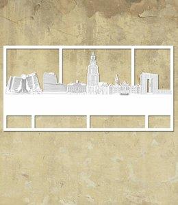 Skyline Groningen wit groot kader