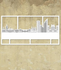 Skyline Den Haag wit groot kader