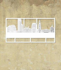 Skyline Leeuwarden wit klein kader