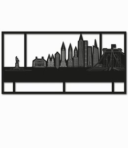 Skyline New York - Zwart  met kader
