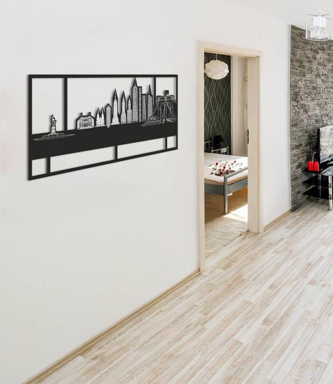 Skyline New York - Zwart  met kader