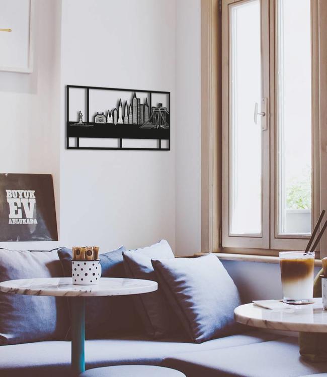 Skyline New York - Zwart  met kader klein