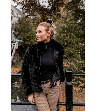 FAUX FUR JACKET | BLACK MAAT L