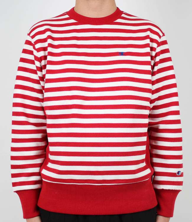 845d9b848fd Champion Stripe Crewneck Red - GRAIL