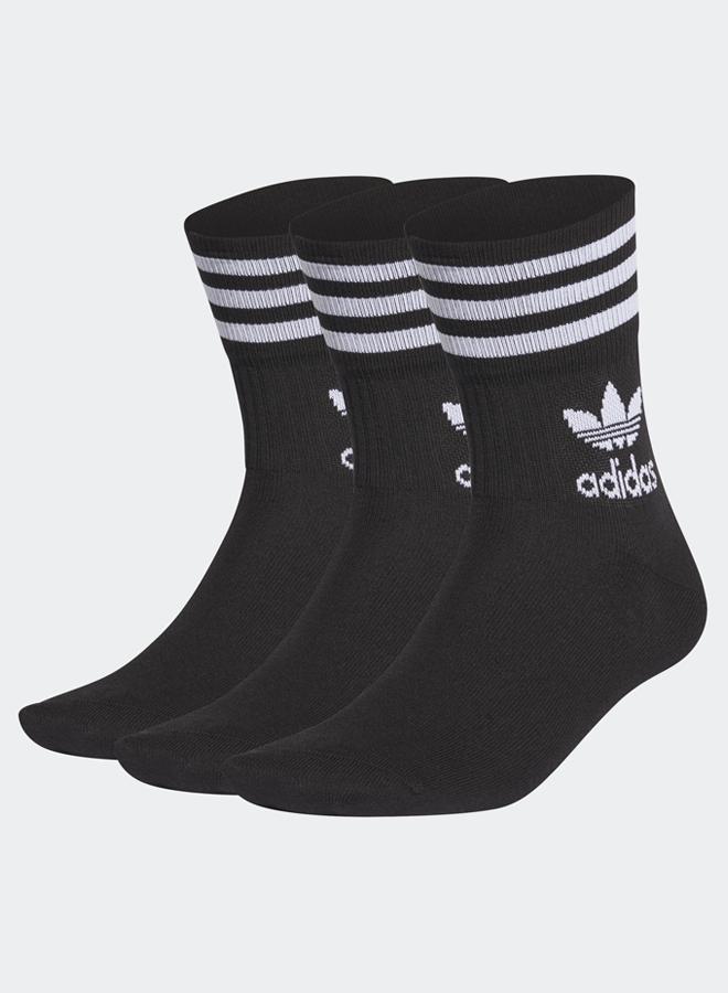 Mid Cut Crew 3 Pack Socks Black/White