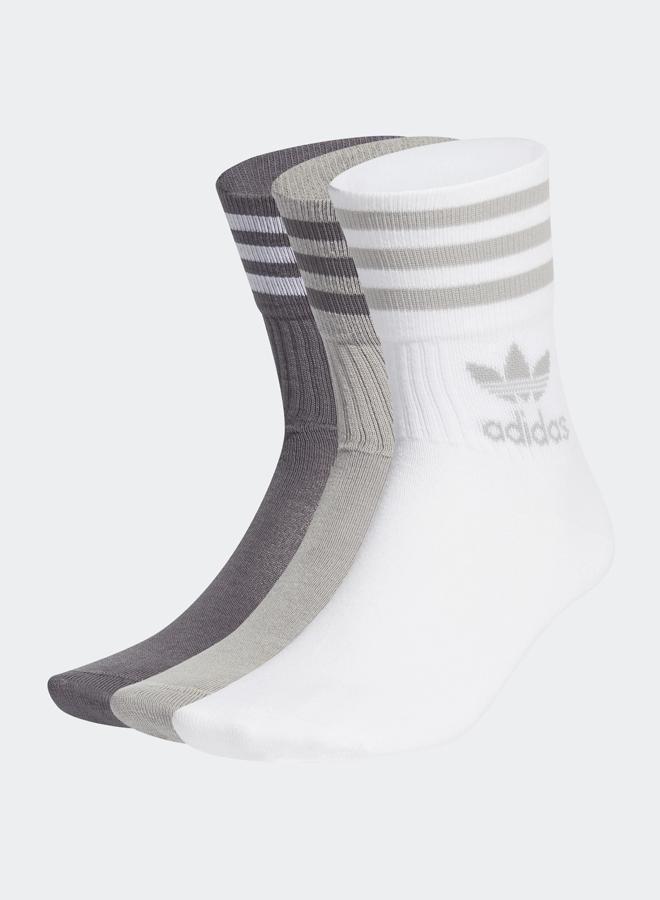 Mid Cut Crew 3 Pack Socks Grey