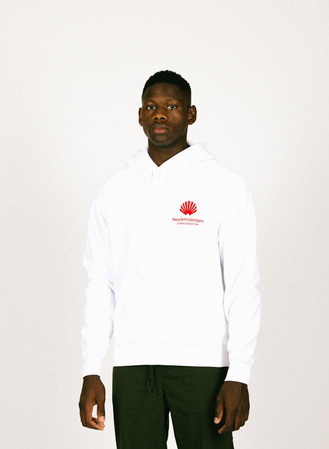 Logo Hoodie Aw21 White Crimson