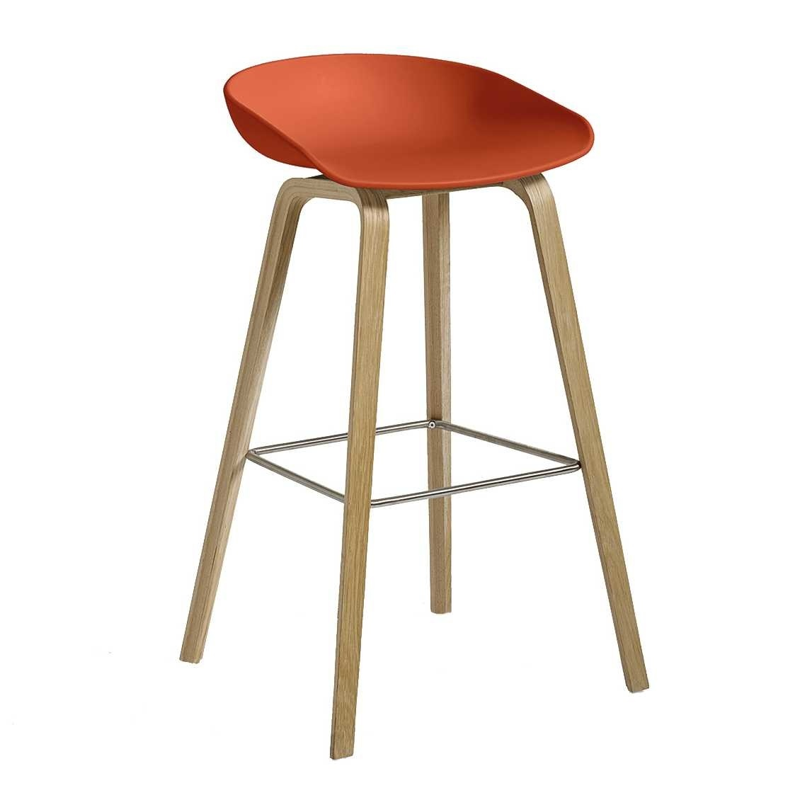 HAY AAS 32 Low - Matt Lacquered Oak Veneer / Orange Seat