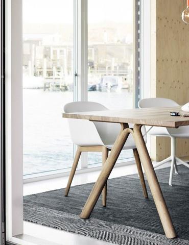 Muuto Fiber Armchair Wood Base - Natural White/Oak
