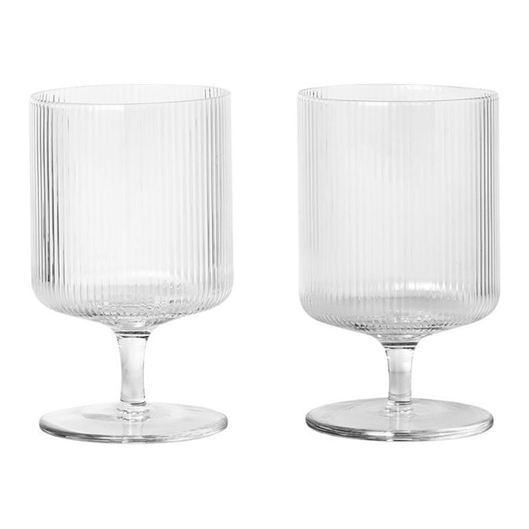 Ferm Living Ripple Wine Glasses (Set of 2) Clear
