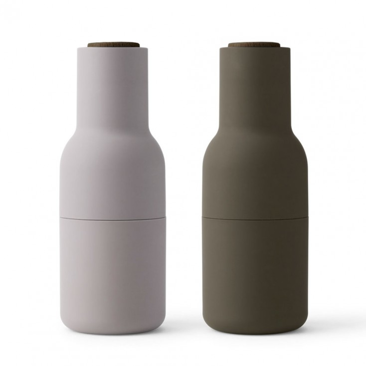 Menu Bottle Grinder - Hunting Green and Beige / walnut lid - 2-pack