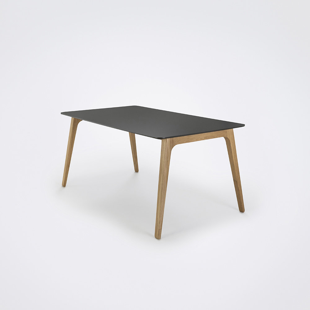 HOUE Gate Dininig Table 242cm // Black Linoleum // black edge // oiled oak legs