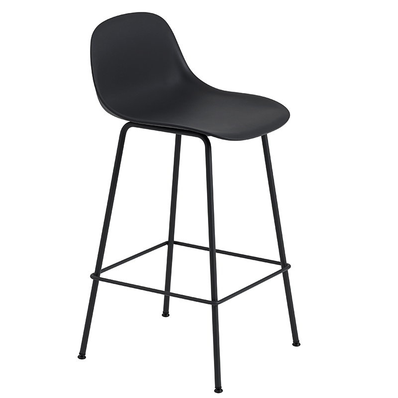 Muuto FIBER BAR STOOL W. BACKREST / TUBE BASE H: 65 CM - Black/Black