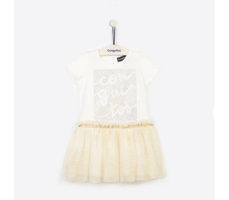 meisjes jurk crème met korte mouw