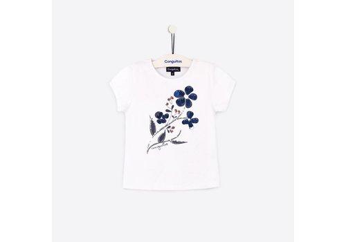 Conguitos shirt wit met blauwe bloem