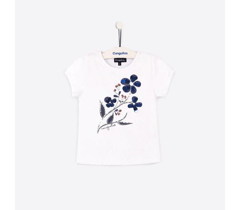 shirt wit met blauwe bloem