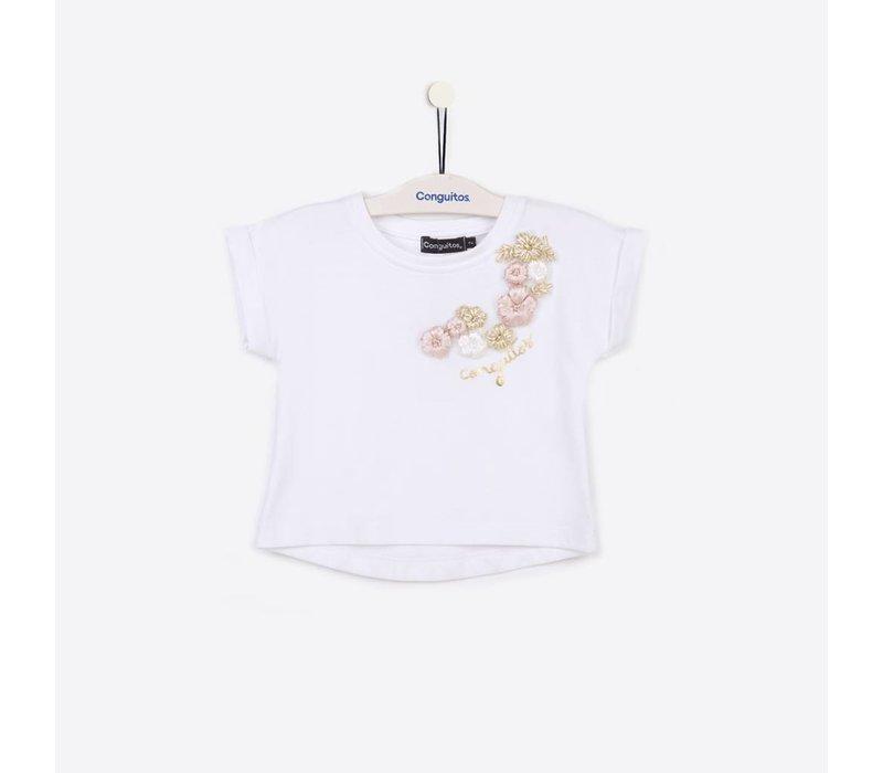 shirt wit met bloemen