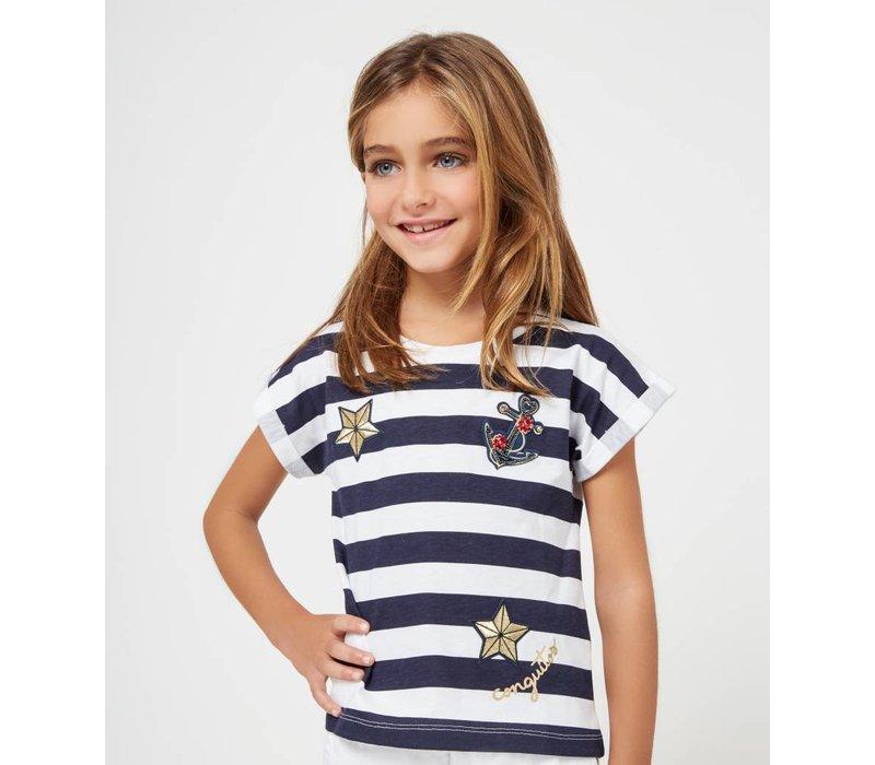 shirt wit met blauw gestreept