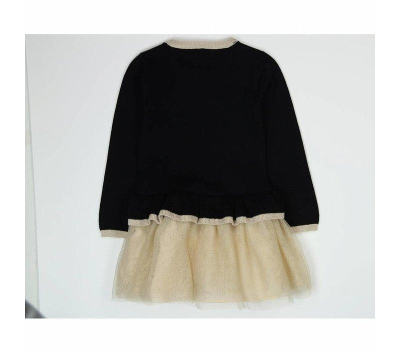 meisjes jurk gebreid zwart en goud