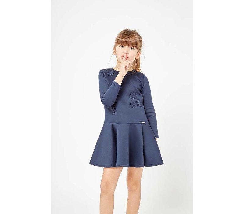 meisjes jurk blauw bloem