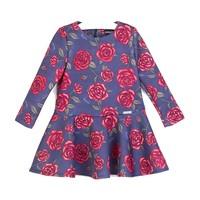 meisjes jurk blauw met rode rozen