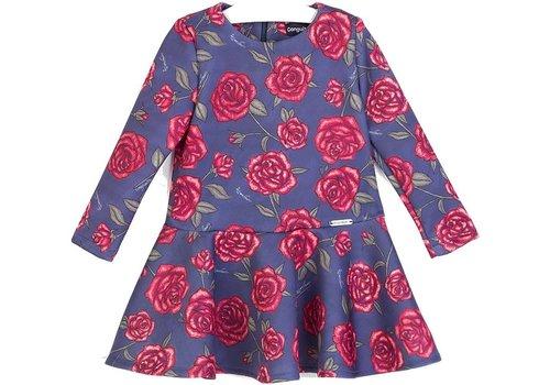 Conguitos meisjes jurk blauw met rode rozen