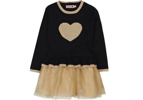 Boboli meisjes jurk gebreid zwart en goud