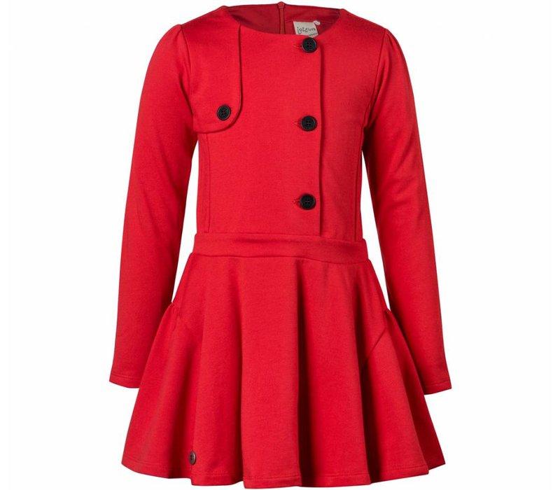meisjes jurk rood met knopen