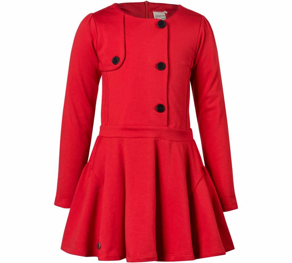 d0e36c5af30060 Meisjes jurk rood met knopen - DressedKid