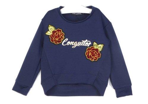 Conguitos sweater blauw met roos