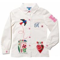 blouse wit met applicaties