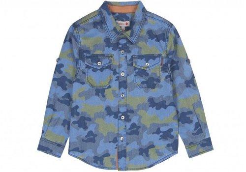Boboli jongens overhemd blauw  camouflage print