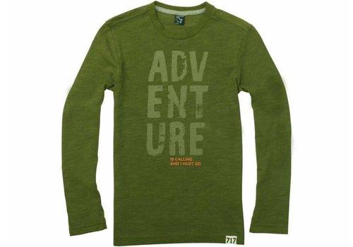 Sevenoneseven jongens shirt mosgroen lange mouw print