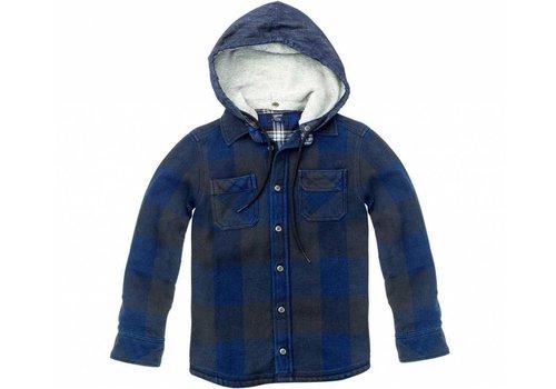 Sevenoneseven jongens overhemd blauwe ruit met capuchon