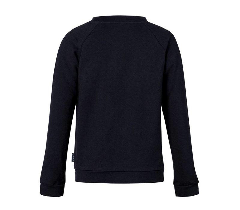 sweater blauw met bloem